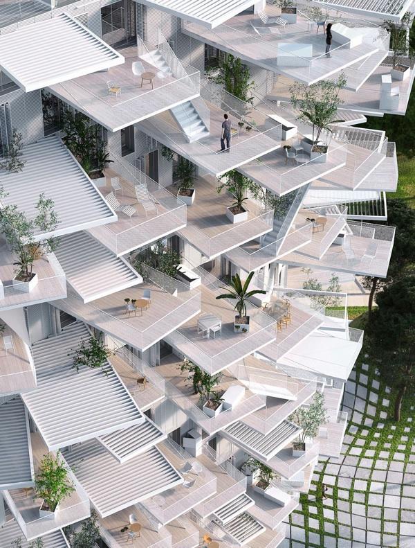 un immeuble en forme d arbre montpellier mega buzz. Black Bedroom Furniture Sets. Home Design Ideas