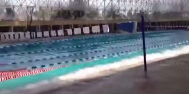L'effet d'un tremblement de terre dans une piscine