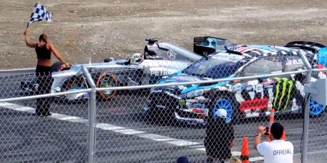Lewis Hamilton et Ken Block s'éclatent sur un circuit