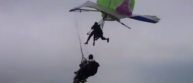 Collision entre un deltaplane et un parapente