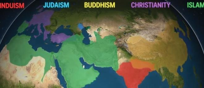 La répartition des religions dans le monde en 5 000 ans