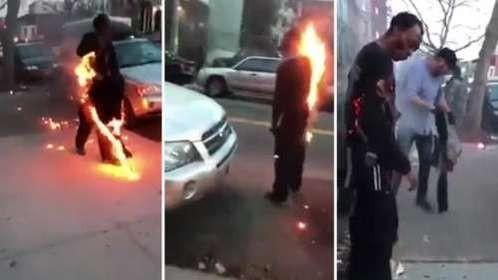 Un homme en feu se balade tranquillement dans les rues de New York !